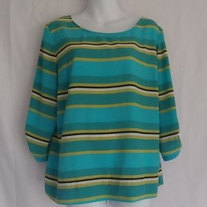 Croft & Barrow Turquoise Stripe Top Large
